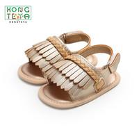 tasarım beşikleri toptan satış-2019 Yeni Tasarım Moda PU Deri Yaz Yumuşak Soled Açık İlk Walkers Ayakkabı Beşik Erkek Kız Bebek Moccasins Ayakkabı