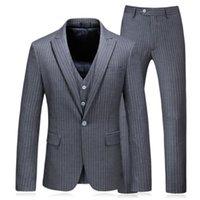 ingrosso ora si veste-Vestito a tre pezzi tuta da uomo (giacca + pantaloni + gilet) è ora popolare vestito da uomo formale vestito da uomo grigio a righe nuovo vestito da uomo