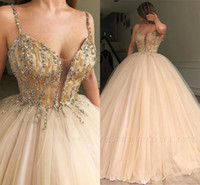 Wholesale heavy beaded evening for sale - Group buy Champagne Tulle Ball Gown Quinceanera Dress Elegant Heavy Beaded Crystal Spaghetti Strap Sweet Dresses Evening Prom Gowns BC1898