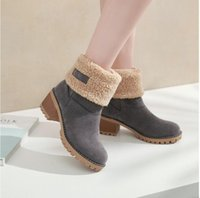 talons gris pour les femmes achat en gros de-la mode féminine d'hiver dans le canon épais bottes de neige haut talon bottes de coton en laine chaude talon couleur; noir, camel, orange, vert, gris