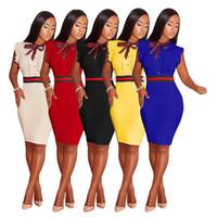 america sexy curto venda por atacado-Vestido 2019 roupas femininas europa e américa moda plissado vestido de manga curta sexy slim fit hip saia curta novo estilo