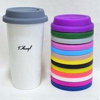 ingrosso coperchio della copertura della tazza di caffè del silicone-9 centimetri universale Coppa coperchio turno di Coppa coperchio latte del caffè della tazza della copertura del silicone anti-polvere copertura della tazza di vetro MMA2556