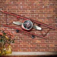salles à manger anciennes achat en gros de-Creative American Retro Aircraft Clock, salon, salle à manger, décoration murale, tenture murale, horloge ornementale en fer Q190429