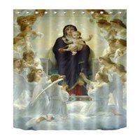 bebe bendito al por mayor-Hijo de Dios Jesucristo bendice la decoración Cortina de ducha Tejido de poliéster 3D Durable a prueba de agua Virgen María Bebé recién nacido Ángel