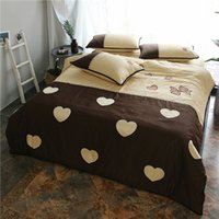 Wholesale modern girl bedding for sale - Luxury Egyptian cotton bedding set gold heart pattern Embroidery satin duvet cover sets girls bed linen bedclothes
