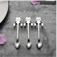 ingrosso cucchiaio d'oro-Sorriso Cat Pattern Spoon Hangable Handle Coffee Mestolo Acciaio inox Scoop Cartoon Lovely Gold And Silver 3 5yh C1