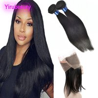 Wholesale brazilain hair straight for sale - Group buy Brazilain Silky Straight Human Hair Bundles With Lace Frontal Straight Hair Extensions Pre Plucked Lace Frontal With Lace Frontal