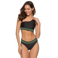 bikiniler tasarımları toptan satış-Yeni Tasarım Bikini Kadın Push Up Beachwear Bir Omuz Artı Boyutu Mayo Düşük Belli Mayo MDL19096 N30D