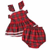 mädchen rote panzer großhandel-2018 frühling sommer baby mädchen rot plaid tank dress kinder ärmelloses casual dress baby kleidung kurze pantsa