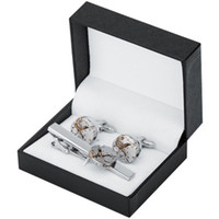 kol düğmesi set kutuları toptan satış-Erkek Kravat Klip Manşet Bağlantıları Setleri Steampunk Dişli İzle Mekanizması Erkekler için İşlevsiz Fransız Kol Düğmesi Takı Gömlek Hediye Kutusu ile Kol Düğmeleri
