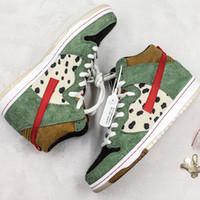 yeni markalı spor ayakkabıları toptan satış-SB Dunk Yüksek Köpek Yürüteç Kaykay Ayakkabı Yeni Varış Marka Tasarımcısı Geyik Derisi Noktalar Yeşil Kahverengi Süet Rahat Spor Sneaker