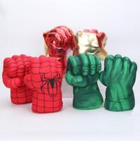plüschtiere kostüme großhandel-Kinder Spinne Hulk Boxhandschuhe Hulk Smash Hände Spider Man Plüschhandschuhe Requisiten Kostüme Figur Spielzeug Sport Handschuhe GGA1838