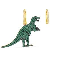 dinozor küpeleri toptan satış-TENY% 100 Gümüş S925 Yüksek Kalite OriginalHave Logo Apm Asimetrik Dinozor Büyük Küpe Kadınlar Takı Ücretsiz Posta