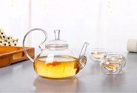 ingrosso cinese fiori pentola-1PC 600ml resistente al calore con alta maniglia fiore in vetro teiera in vetro fioritura teiere di vetro cinese