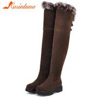 Wholesale big boots females resale online - Karin Big Size Russia winter warm plush Shoes Woman snow Boots Female Shoes over the knee Boots Women