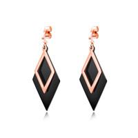 ingrosso orecchini in diamante nero in acciaio inox-Orecchini pendenti geometrici a forma di diamante in acciaio inossidabile. Orecchini impilabili in oro rosa nero