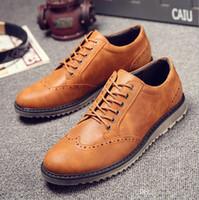 siyah deri stili toptan satış-Moda popüler Brooker tarzı rahat adamın ayakkabı siyah adam için ayakkabı iş ayakkabıları deri ayakkabı perakende toptan 2019 Yeni varış