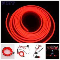 interior do carro da tira vermelha venda por atacado-Carro-styling 2 M RED EL-Wire 12 V Interior Do Carro Decoração Tira Fluorescente de Néon Fita Fria luz jn28