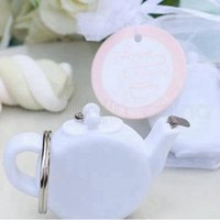 Wholesale tape keychain for sale - Group buy Teapot Measuring Tape Keychain Mini Portable Measure Tapes White Teapot Keychain Wedding Party Giveaway Gift RRA358