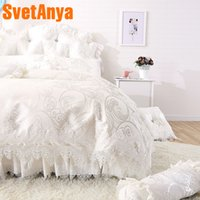 Wholesale king size bedding coverlet online - Svetanya Lace Princess Bedlinen Coverlet Pillowcases Duvet Cover Set Single Queen king size Bedding Sets