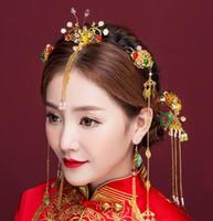 Wholesale chinese bride hair for sale - Bride Crown Headdress Ancient Chinese Xiuhe Dress Hair Decoration Set Retro Fengguan Cheongsam Dress Accessories