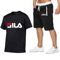 erkekler için yaz plaj gömlekleri toptan satış-Eşofman Yaz Kısa Set Erkekler Marka Tshirt Erkekler Nefes Rahat Plaj T-Shirt Takım Elbise Moda Takım Elbise Erkek Boyutu S-2XL