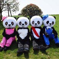 desenhos animados da panda do natal venda por atacado-Halloween panda traje da mascote dos desenhos animados de alta qualidade red hat urso panda anime personagem do tema do natal carnaval trajes do partido