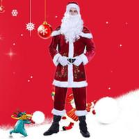 vestidos casuales de disfraces al por mayor-Traje de disfraces de Navidad de Santa Claus Disfraz de mascarada para hombre Juego de ropa de personaje de Cosplay para adultos