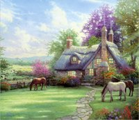 Wholesale wall art reproduction for sale - Group buy Gifts Hot Wall Art Thomas Kinkade Landscape Oil Painting Reproduction Giclee Print On Canvas Modern Home Art office Living Room Decor tms070