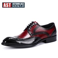крылья оптовых-Plus Size 11 12 Hight End Wedding Shoes Men Genuine Leather Retro Formal Dress Shoes Wing Tips Brogue Gift Man