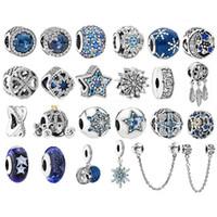 encantos da estrela azul venda por atacado-925 contas de prata esterlina mar azul zircão estrelas fit original pandora charme pulseira colar de prata 925 contas de natal moda jóias