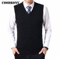 4xl pullover weste großhandel-COODRONY Pullover Männer Kleidung 2018 Herbst Winter Warme Kaschmirwolle Pull Homme Klassische Lässige V-ausschnitt Sleeveless Weste Pullover 126