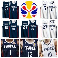 basketball jersey 17 großhandel-2019 Weltcup Team Basketball Jersey Frankreich 2 Amath M'BAYE 21 Andrew ALBICY 17 Vincent POIRIER 26 Mathias LESSORT GOBERT BATUM FOURNIER