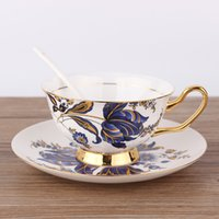 Wholesale european china dishes for sale - Group buy European coffee cup set Fine Bone China milk mug morning afternoon tea cup with handle blue flower pattern ceramic cup dish