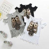 bayanlar baykuş gömlek toptan satış-İNGILTERE Stok Yürüyor Bebek Kız Sequins Baykuş Püskül T-shirt Yaz Rahat Giysiler Tops