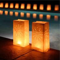 lanternas decorações para casamentos venda por atacado-50 pcs Luminary Sol Luz De Papel Vela Chá Lanterna Sacos Para Bbq Aniversários de Casamento Casamentos Decoração Do Partido Suprimentos Q190611