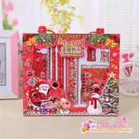 ingrosso cancelleria del capretto-Nuove Hottest bambini notebook insieme del regalo di Natale della cancelleria matita righello arco della cancelleria regali di Natale per bambini regali