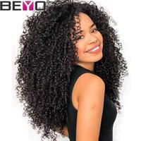 bebé indio pelo rizado al por mayor-Raw Virgin Indian Hair Kinky Curly Pre Plucked Full Lace Pelucas de cabello humano para mujeres negras Remy Lace Wig con el pelo del bebé