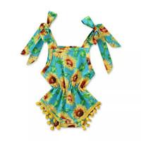 meninas verão onesies venda por atacado-Meninas do bebê Impresso Romper Infantil Roupas de Bebê Verão Estilingue Girassol Onesies Arco Rendas Bola Romper Do Bebê Meninas Suspender Romper Macacão