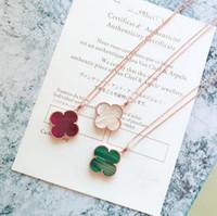 collares de las mujeres al por mayor-Vintage Alhambra S925 de Plata Esterlina Grande de Cerámica de Cuatro Hojas Trébol Flor Charm Colgante Collar de Suéter Para Las Mujeres