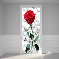 Wholesale red 3d wall sticker resale online - Modern Simple Red Rose Flower Wallpaper D Wall Door Mural PVC Self Adhesive Waterproof Living Room Bedroom Wallpaper Sticker D
