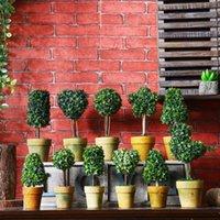 mini bonsai decoração venda por atacado-Retro flor simulação bonsai casa selvagens criativas ornamentos vários estilos de mini falso ambiente de trabalho vaso decoração EEA409