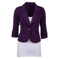 blazer für frauen farbe blau großhandel-Frauen Casual Work Solid Color Knit Blazer Plus Größe Ein Knopfjacke (Marineblau, L / US-12 ~ 14) # 408447