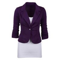 jaqueta formal azul marinho para mulheres venda por atacado-Trabalho casual das mulheres cor sólida blazer de malha plus size um casaco de botão (azul marinho, l / us-12 ~ 14) # 408447