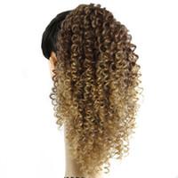 extensiones de cabello cola de caballo rubia rizada al por mayor-14 '' Auburn ombre honey blonde Afly Kinky Curly Ponytail Clip en Extensión de Cabello Ajustable Wrap String120G