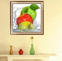 diamantes verde manzana al por mayor-Verde Rojo Amarillo 3 Manzanas Fruta DIY 5D Puntada Diamante Redondo Juego de Herramientas de Puntada Diamante 3D Diamond Mosaic Room Decor