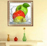 diamants vert pomme achat en gros de-Vert Rouge Jaune 3 Pommes Fruits DIY 5D Point De Diamant Rond 3D Outils De Point De Diamant Kit Diamant Mosaïque Room Decor
