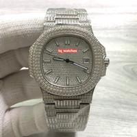 caras de reloj de diamante al por mayor-Versión mejorada del elegante reloj deportivo Reloj de pulsera de diamantes de acero inoxidable plateado Cara de diamante plateado Relojes mecánicos automáticos