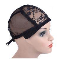 iyi örgü toptan satış-Peruk arkasındaki ayarlanabilir kayış ile peruk yapmak için kap dokuma kap boyutu tutkalsız peruk caps İyi kalite Saç Net Siyah