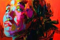 cuchillo de paleta moderno al por mayor-Retrato moderno 100% Pura pintura al óleo hecha a mano Francoise Nielly Paleta Cuchillo Impresión Inicio Obras de arte Textura cóncava y convexa Cara236
